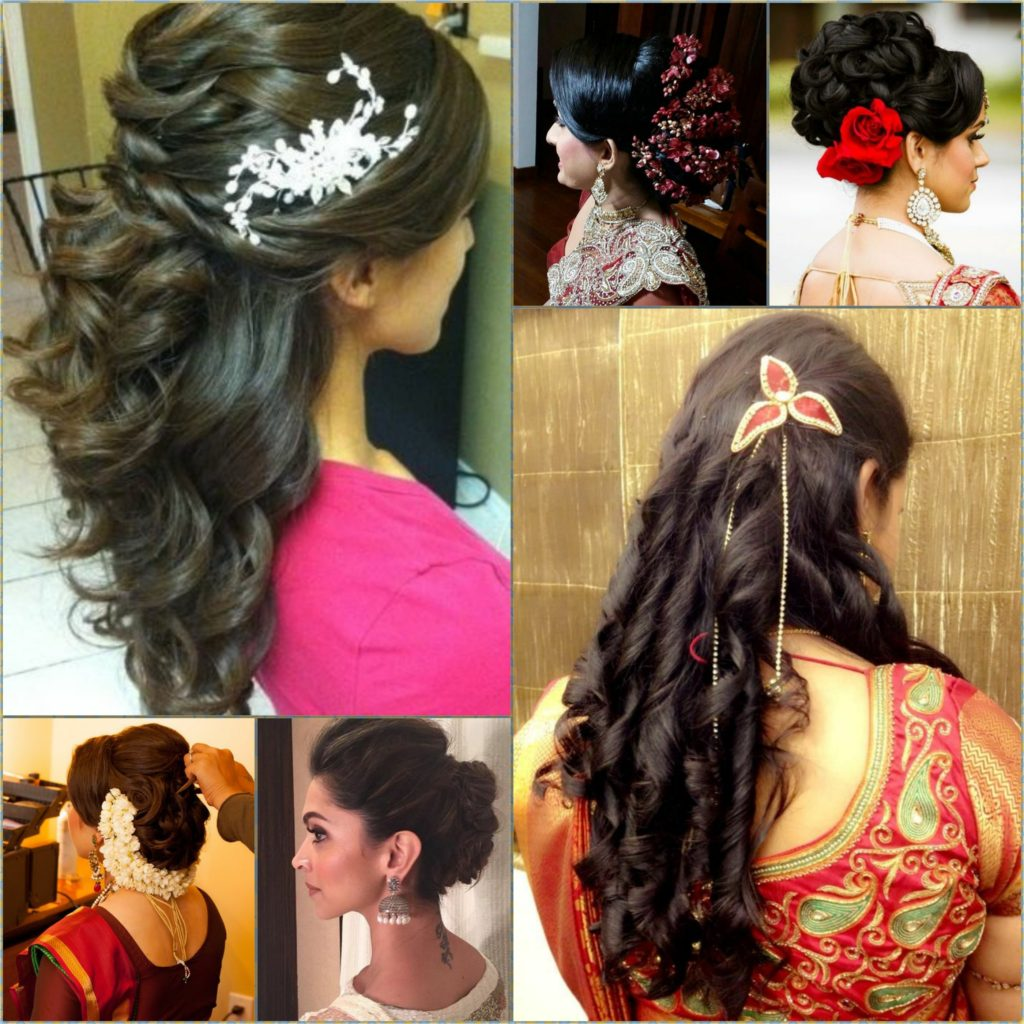 Indian Wedding Hairstyles For Mid To Long Hair - Curly hairstyle indian