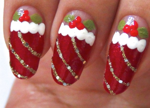 Beautiful red nail art design wedding day