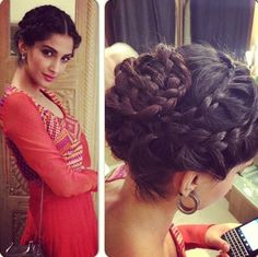 sonam-kapoor-braid-bun-hairstyle-for-wedding